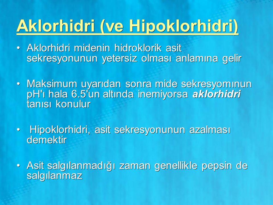 Aklorhidri (ve Hipoklorhidri) Aklorhidri midenin hidroklorik asit sekresyonunun yetersiz olması anlamına gelir Maksimum uyarıdan sonra mide sekresyomı