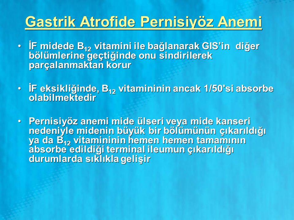 Gastrik Atrofide Pernisiyöz Anemi İF midede B 12 vitamini ile bağlanarak GIS'in diğer bölümlerine geçtiğinde onu sindirilerek parçalanmaktan korur İF
