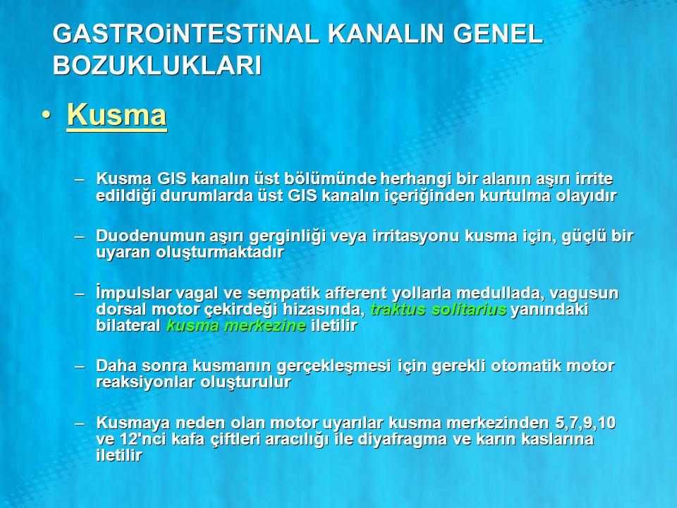 GASTROiNTESTiNAL KANALIN GENEL BOZUKLUKLARI Kusma –Kusma GIS kanalın üst bölümünde herhangi bir alanın aşırı irrite edildiği durumlarda üst GIS kanalı