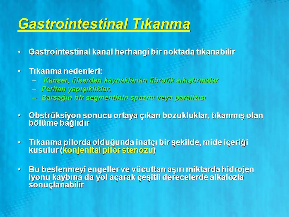 Gastrointestinal Tıkanma Gastrointestinal kanal herhangi bir noktada tıkanabilir Tıkanma nedenleri: – Kanser, ülserden kaynaklanan fibrotik sıkıştırma
