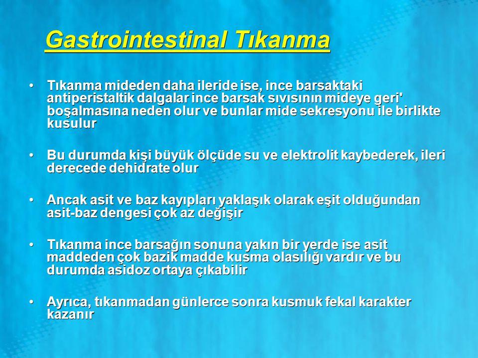 Gastrointestinal Tıkanma Tıkanma mideden daha ileride ise, ince barsaktaki antiperistaltik dalgalar ince barsak sıvısının mideye geri' boşalmasına ned