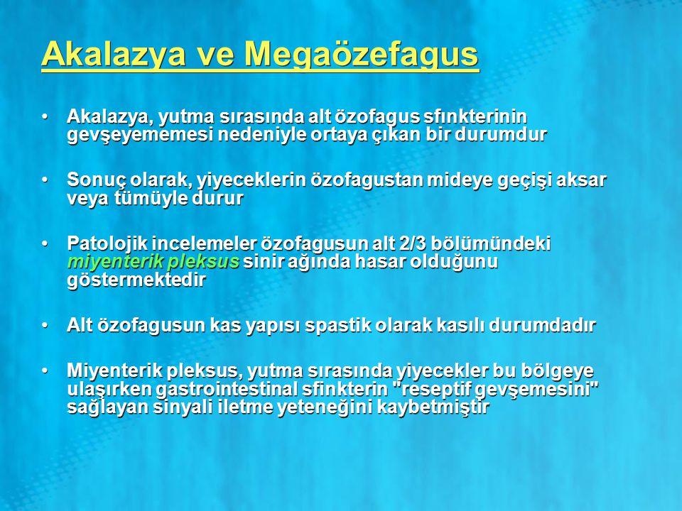 Akalazya ve Megaözefagus Akalazya, yutma sırasında alt özofagus sfınkterinin gevşeyememesi nedeniyle ortaya çıkan bir durumdur Sonuç olarak, yiyecekle