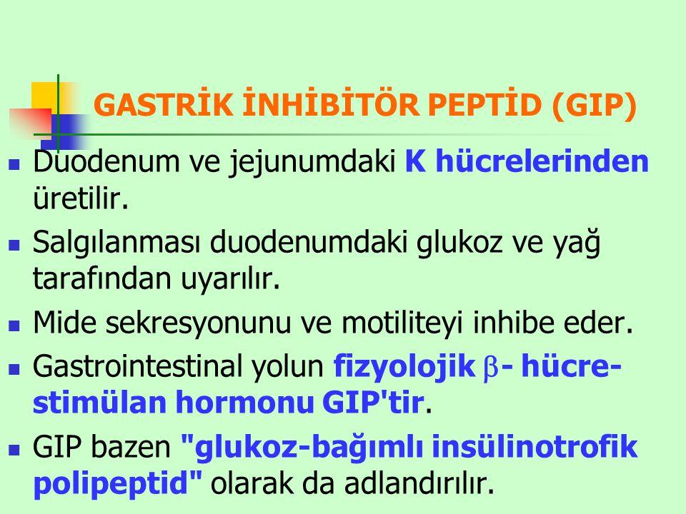 GASTRİK İNHİBİTÖR PEPTİD (GIP) Duodenum ve jejunumdaki K hücrelerinden üretilir.