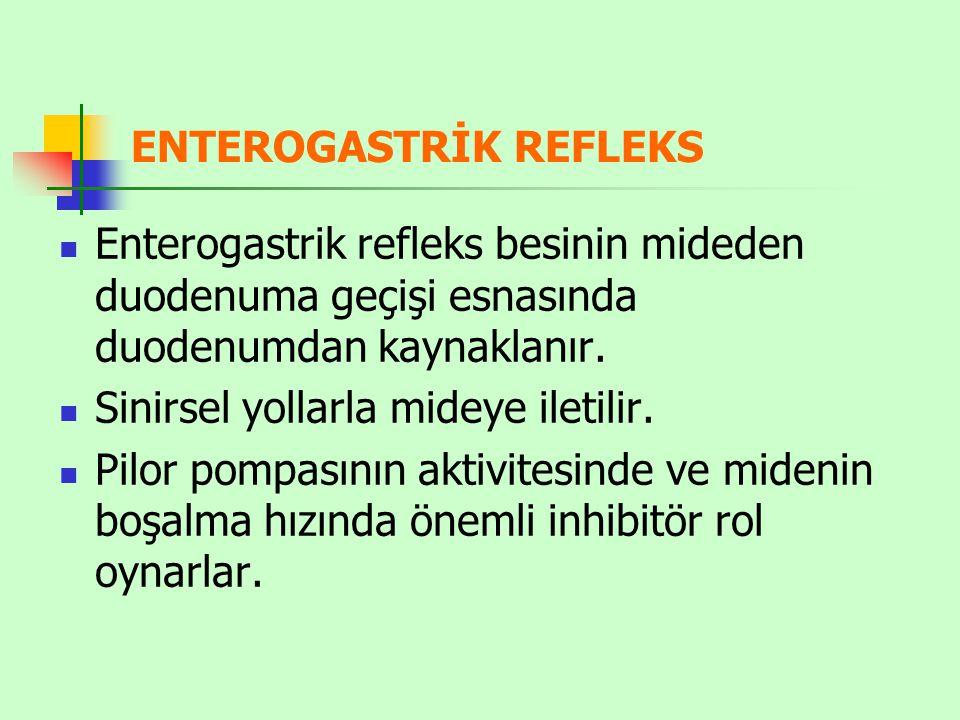 ENTEROGASTRİK REFLEKS Enterogastrik refleks besinin mideden duodenuma geçişi esnasında duodenumdan kaynaklanır. Sinirsel yollarla mideye iletilir. Pil