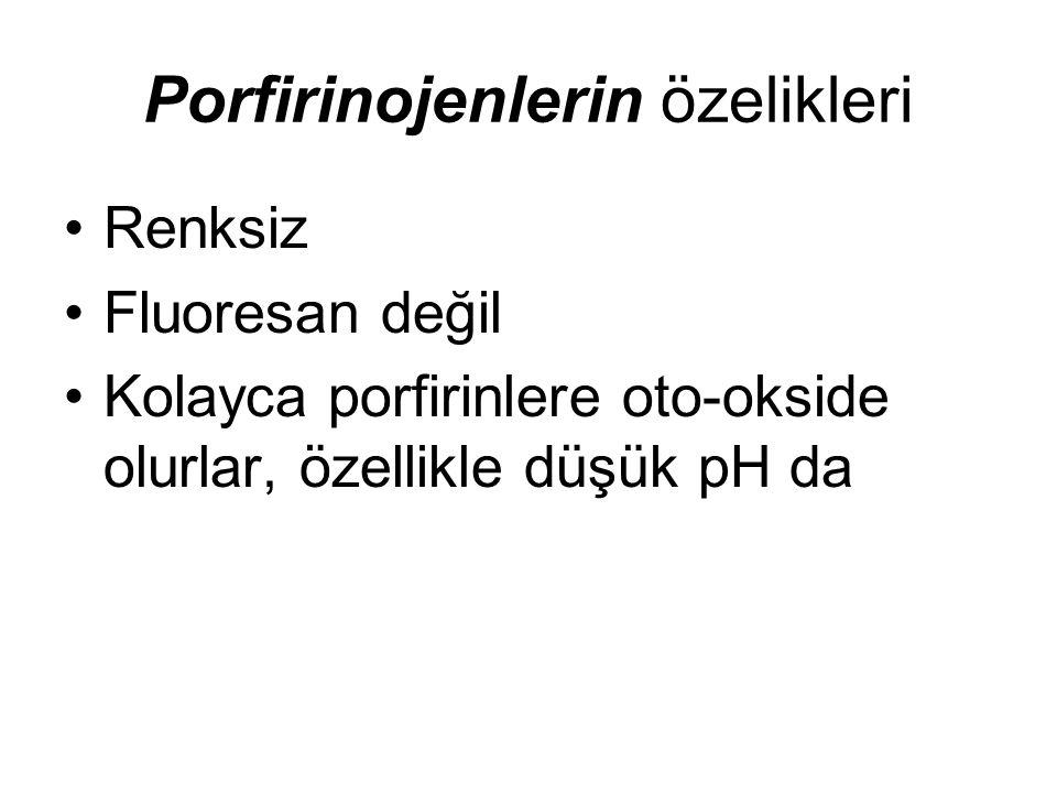 Porfirinojenlerin özelikleri Renksiz Fluoresan değil Kolayca porfirinlere oto-okside olurlar, özellikle düşük pH da