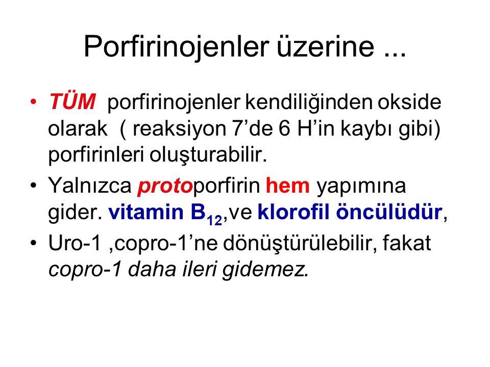 Porfirinojenler üzerine... TÜM porfirinojenler kendiliğinden okside olarak ( reaksiyon 7'de 6 H'in kaybı gibi) porfirinleri oluşturabilir. Yalnızca pr