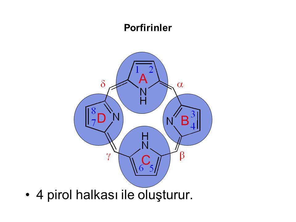 Porfirinler 4 pirol halkası ile oluşturur. A B C D