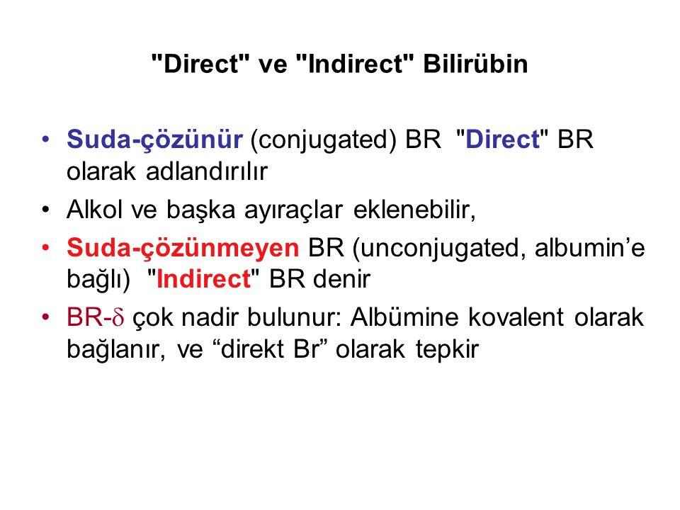 Direct ve Indirect Bilirübin Suda-çözünür (conjugated) BR Direct BR olarak adlandırılır Alkol ve başka ayıraçlar eklenebilir, Suda-çözünmeyen BR (unconjugated, albumin'e bağlı) Indirect BR denir BR-  çok nadir bulunur: Albümine kovalent olarak bağlanır, ve direkt Br olarak tepkir