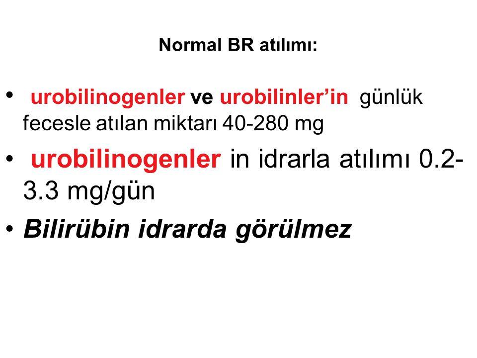 Normal BR atılımı: urobilinogenler ve urobilinler'in günlük fecesle atılan miktarı 40-280 mg urobilinogenler in idrarla atılımı 0.2- 3.3 mg/gün Bilirü