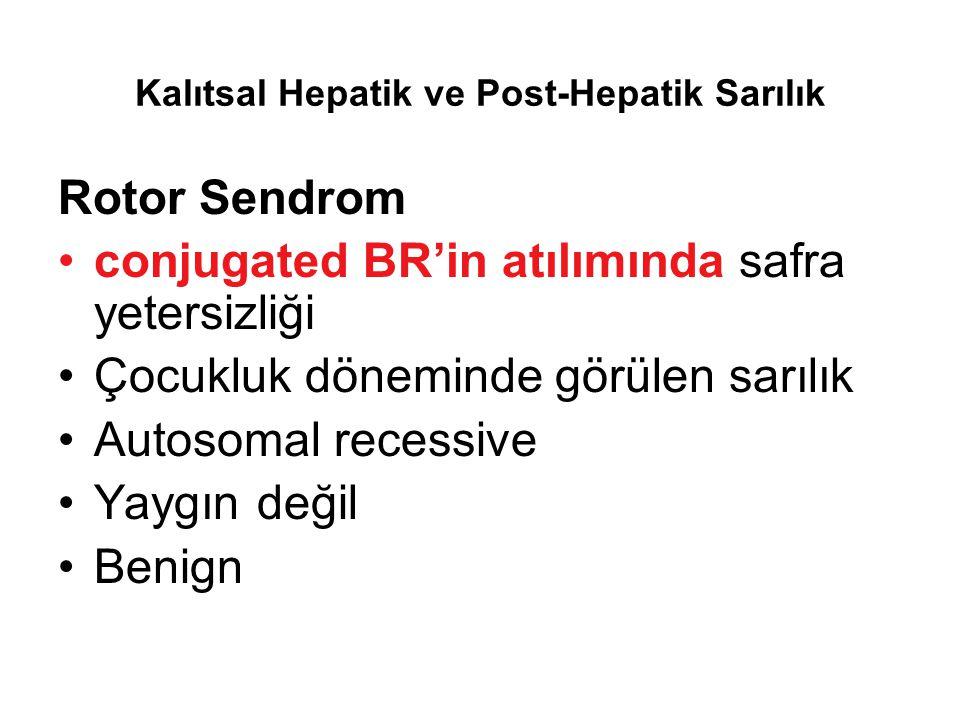Kalıtsal Hepatik ve Post-Hepatik Sarılık Rotor Sendrom conjugated BR'in atılımında safra yetersizliği Çocukluk döneminde görülen sarılık Autosomal rec