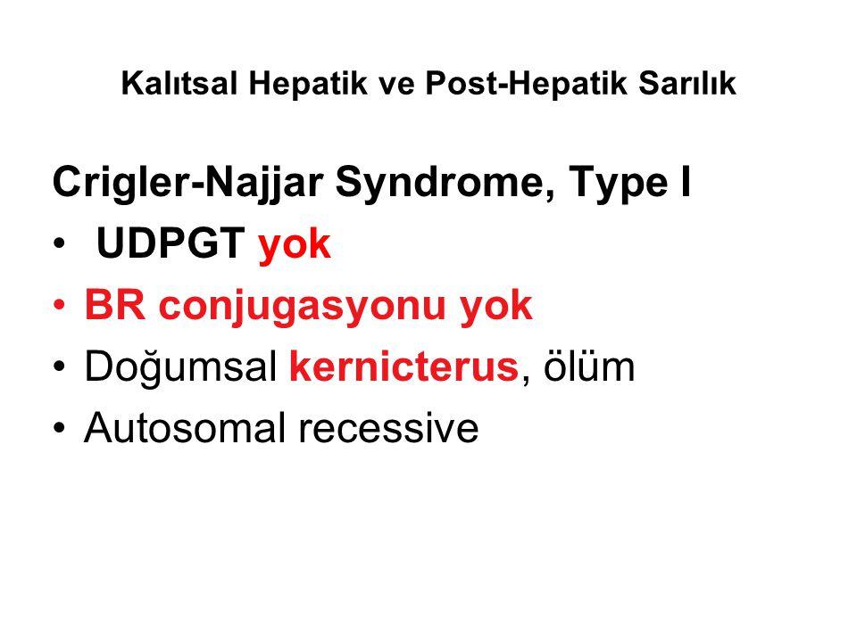 Kalıtsal Hepatik ve Post-Hepatik Sarılık Crigler-Najjar Syndrome, Type I UDPGT yok BR conjugasyonu yok Doğumsal kernicterus, ölüm Autosomal recessive