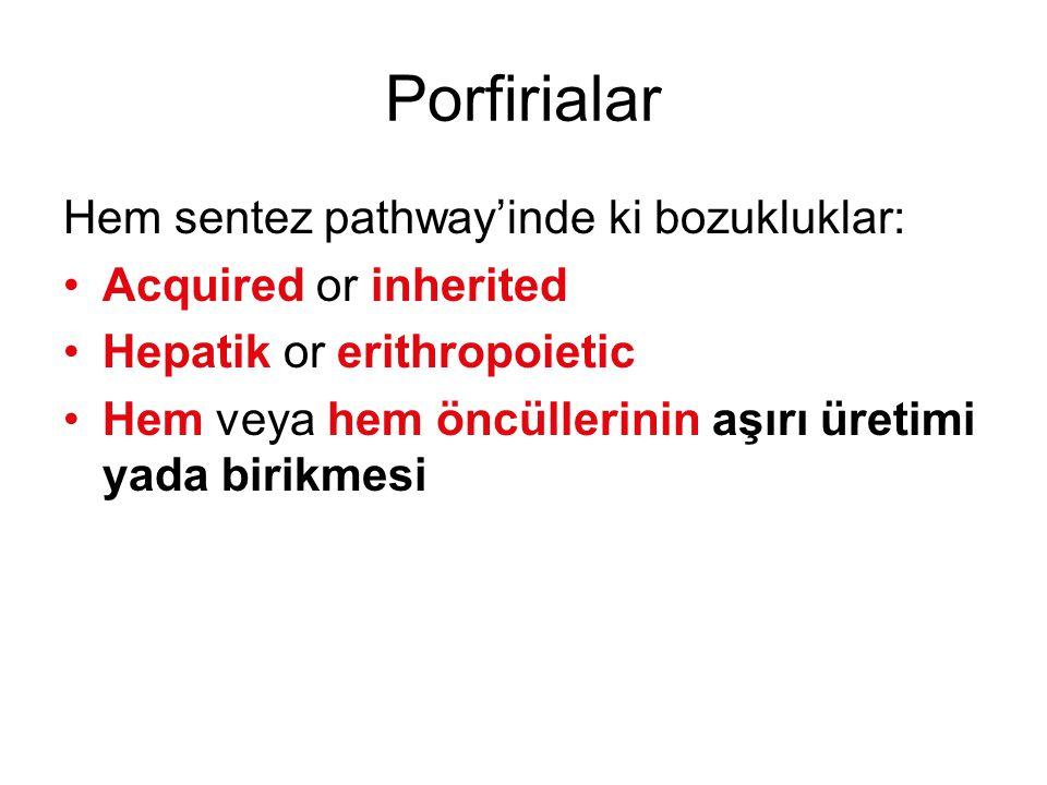 Porfirialar Hem sentez pathway'inde ki bozukluklar: Acquired or inherited Hepatik or erithropoietic Hem veya hem öncüllerinin aşırı üretimi yada birik