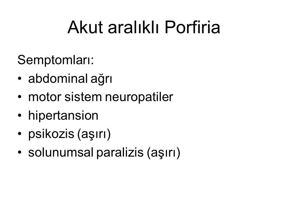 Akut aralıklı Porfiria Semptomları: abdominal ağrı motor sistem neuropatiler hipertansion psikozis (aşırı) solunumsal paralizis (aşırı)