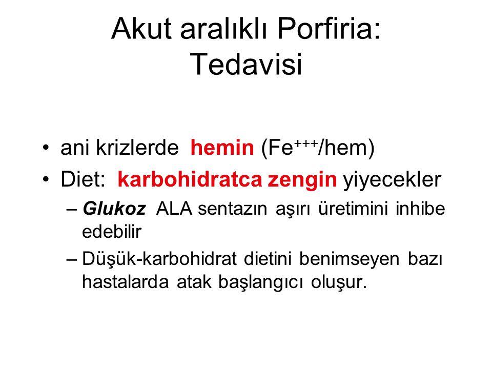 Akut aralıklı Porfiria: Tedavisi ani krizlerde hemin (Fe +++ /hem) Diet: karbohidratca zengin yiyecekler –Glukoz ALA sentazın aşırı üretimini inhibe e