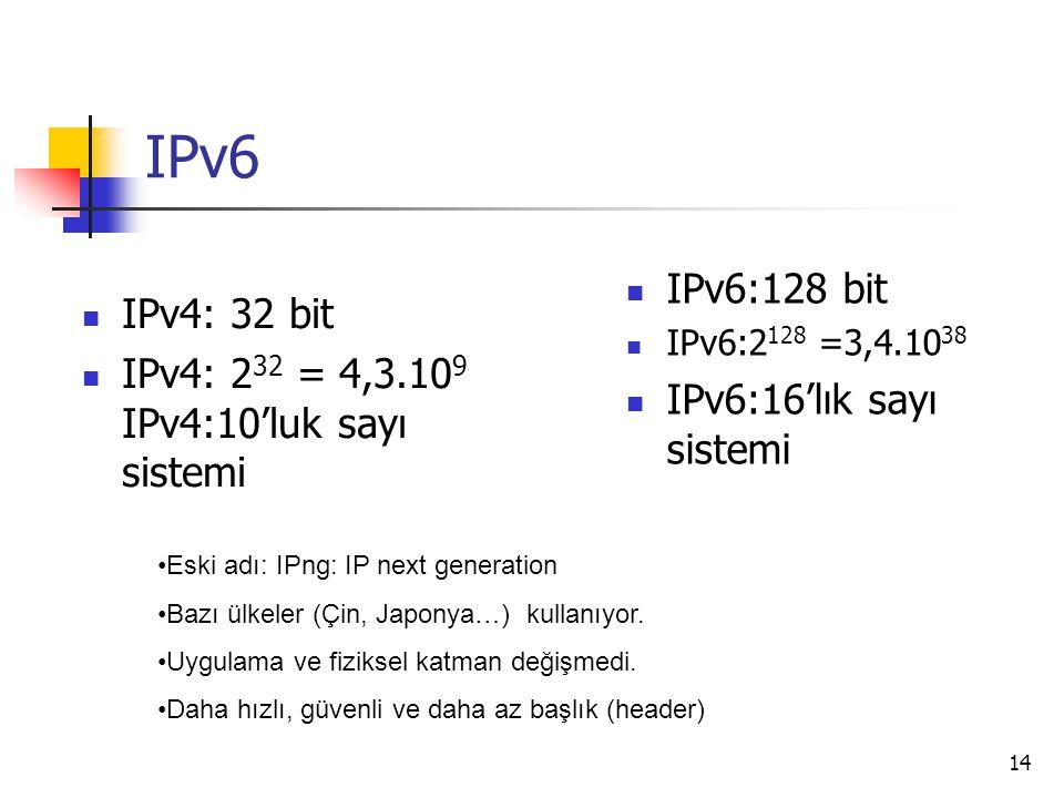 14 IPv6 IPv4: 32 bit IPv4: 2 32 = 4,3.10 9 IPv4:10'luk sayı sistemi IPv6:128 bit IPv6:2 128 =3,4.10 38 IPv6:16'lık sayı sistemi Eski adı: IPng: IP next generation Bazı ülkeler (Çin, Japonya…) kullanıyor.