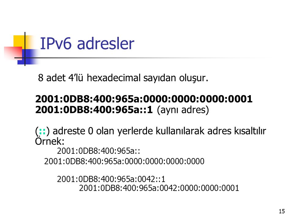 15 IPv6 adresler 8 adet 4'lü hexadecimal sayıdan oluşur. 2001:0DB8:400:965a:0000:0000:0000:0001 2001:0DB8:400:965a::1 (aynı adres) (::) adreste 0 olan