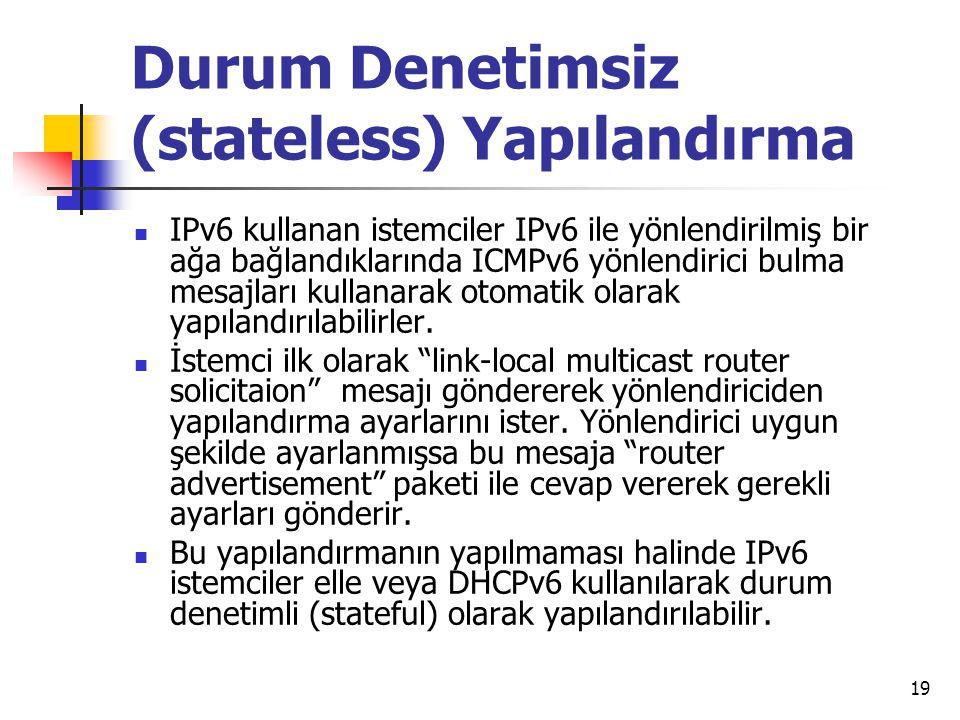 Durum Denetimsiz (stateless) Yapılandırma IPv6 kullanan istemciler IPv6 ile yönlendirilmiş bir ağa bağlandıklarında ICMPv6 yönlendirici bulma mesajları kullanarak otomatik olarak yapılandırılabilirler.