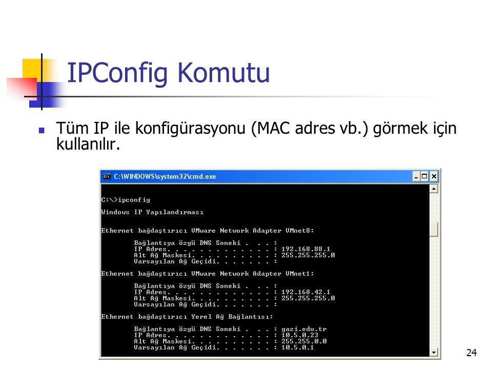 24 IPConfig Komutu Tüm IP ile konfigürasyonu (MAC adres vb.) görmek için kullanılır.