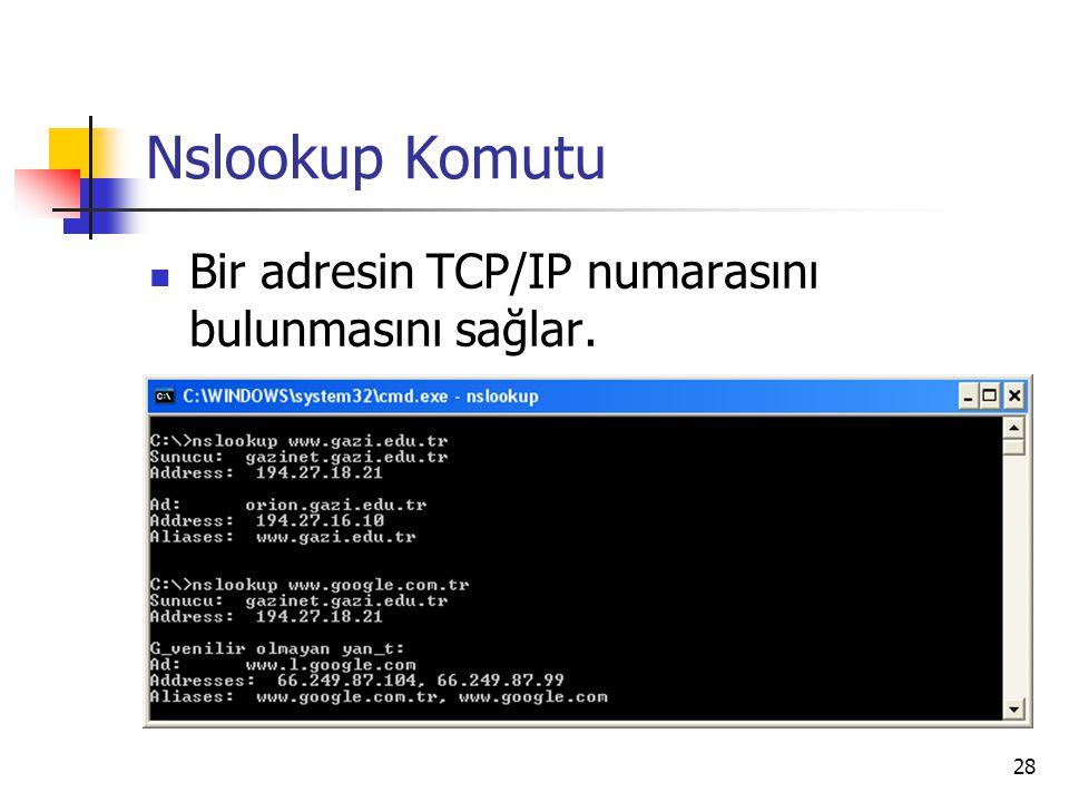 28 Nslookup Komutu Bir adresin TCP/IP numarasını bulunmasını sağlar.