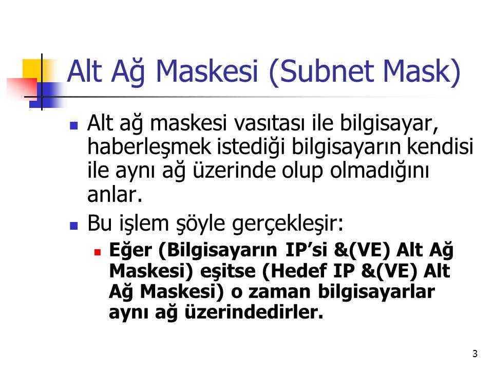 3 Alt Ağ Maskesi (Subnet Mask) Alt ağ maskesi vasıtası ile bilgisayar, haberleşmek istediği bilgisayarın kendisi ile aynı ağ üzerinde olup olmadığını anlar.