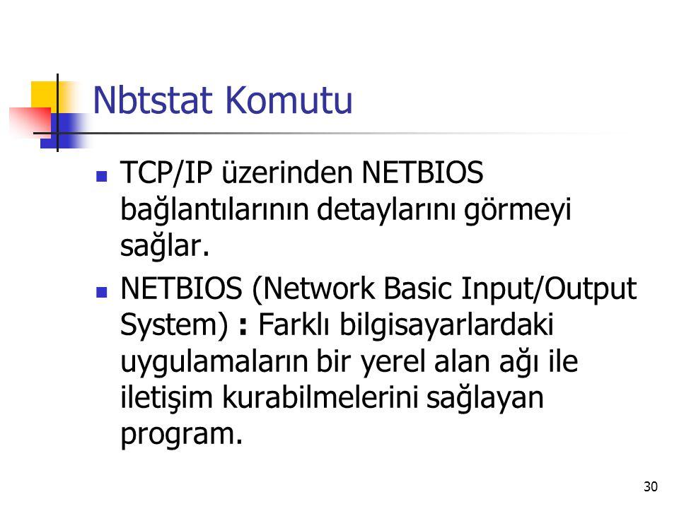 30 Nbtstat Komutu TCP/IP üzerinden NETBIOS bağlantılarının detaylarını görmeyi sağlar. NETBIOS (Network Basic Input/Output System) : Farklı bilgisayar