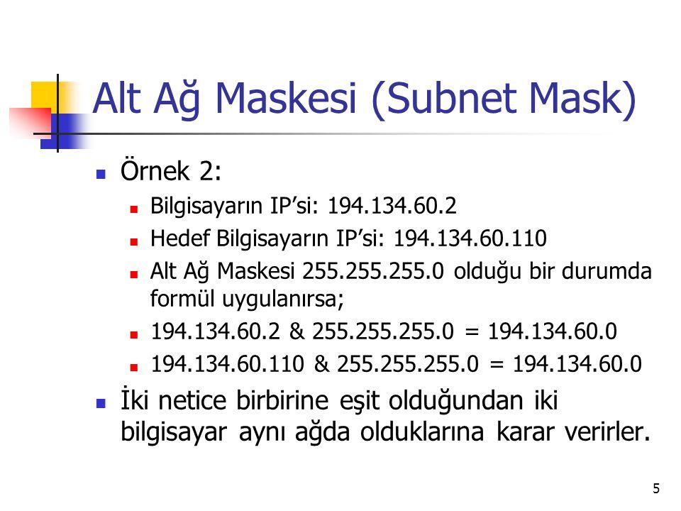 5 Alt Ağ Maskesi (Subnet Mask) Örnek 2: Bilgisayarın IP'si: 194.134.60.2 Hedef Bilgisayarın IP'si: 194.134.60.110 Alt Ağ Maskesi 255.255.255.0 olduğu bir durumda formül uygulanırsa; 194.134.60.2 & 255.255.255.0 = 194.134.60.0 194.134.60.110 & 255.255.255.0 = 194.134.60.0 İki netice birbirine eşit olduğundan iki bilgisayar aynı ağda olduklarına karar verirler.