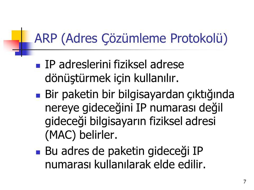 7 ARP (Adres Çözümleme Protokolü) IP adreslerini fiziksel adrese dönüştürmek için kullanılır. Bir paketin bir bilgisayardan çıktığında nereye gideceği