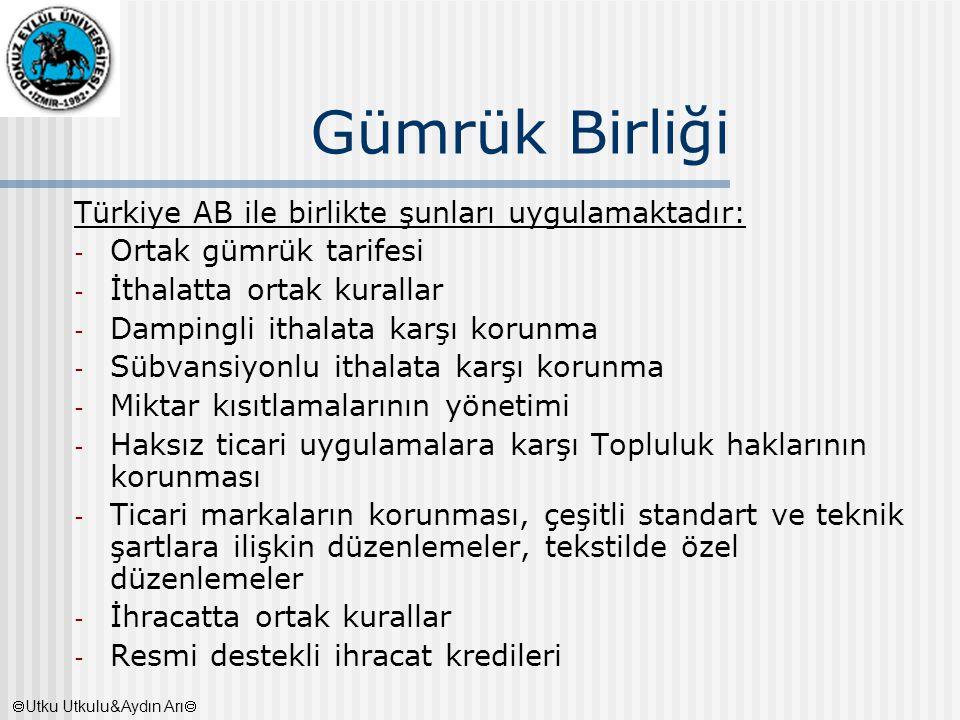 Gümrük Birliği Türkiye AB ile birlikte şunları uygulamaktadır: - Ortak gümrük tarifesi - İthalatta ortak kurallar - Dampingli ithalata karşı korunma -