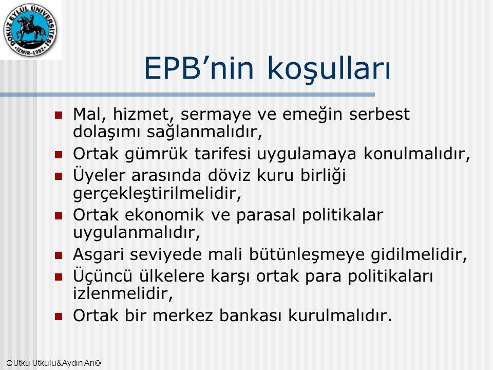 EPB'nin koşulları Mal, hizmet, sermaye ve emeğin serbest dolaşımı sağlanmalıdır, Ortak gümrük tarifesi uygulamaya konulmalıdır, Üyeler arasında döviz