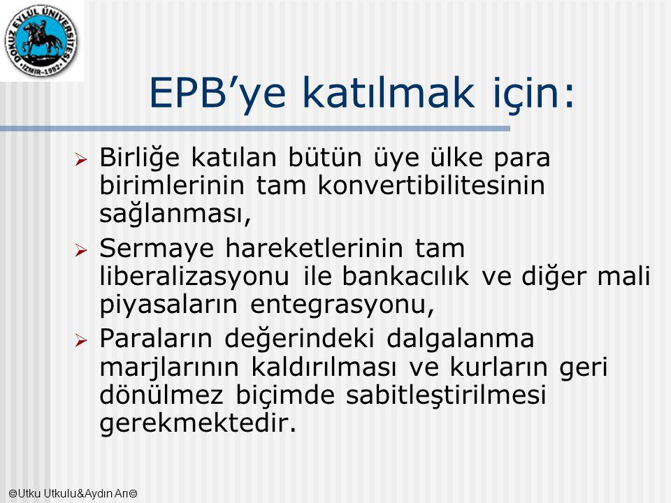 EPB'ye katılmak için:  Birliğe katılan bütün üye ülke para birimlerinin tam konvertibilitesinin sağlanması,  Sermaye hareketlerinin tam liberalizasy
