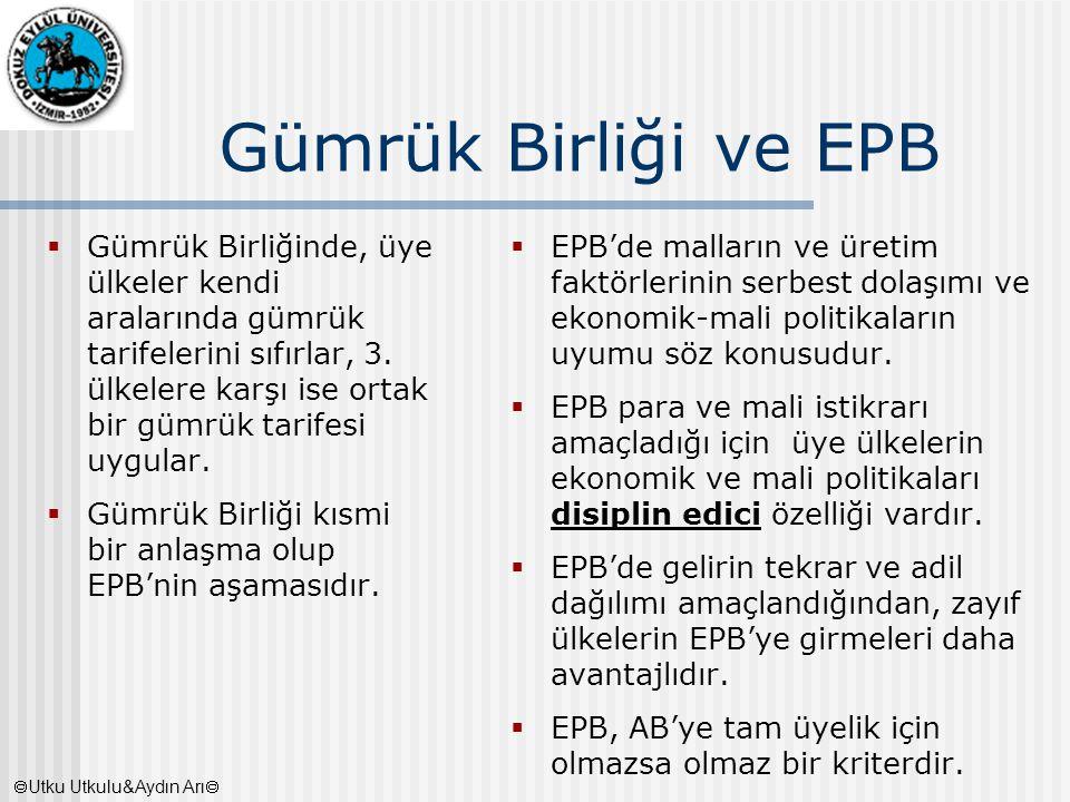Gümrük Birliği ve EPB  Gümrük Birliğinde, üye ülkeler kendi aralarında gümrük tarifelerini sıfırlar, 3. ülkelere karşı ise ortak bir gümrük tarifesi