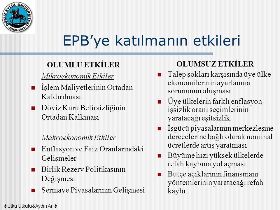 EPB'ye katılmanın etkileri OLUMLU ETKİLER Mikroekonomik Etkiler İşlem Maliyetlerinin Ortadan Kaldırılması Döviz Kuru Belirsizliğinin Ortadan Kalkması