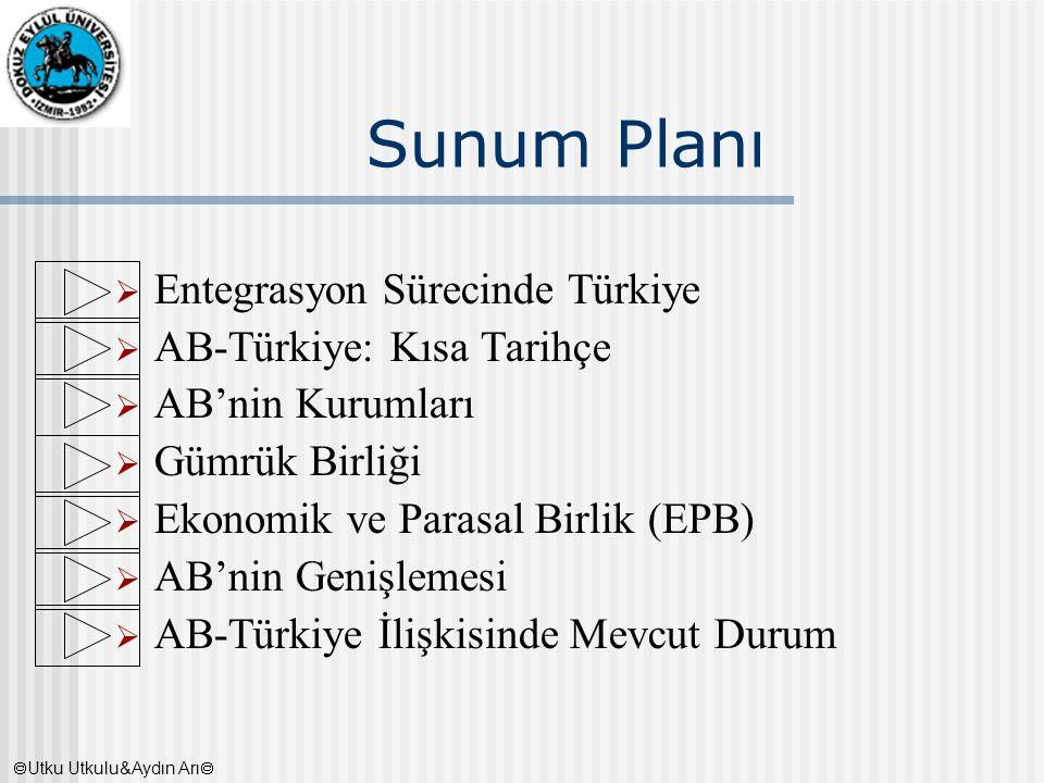 Sunum Planı  Entegrasyon Sürecinde Türkiye  AB-Türkiye: Kısa Tarihçe  AB'nin Kurumları  Gümrük Birliği  Ekonomik ve Parasal Birlik (EPB)  AB'nin