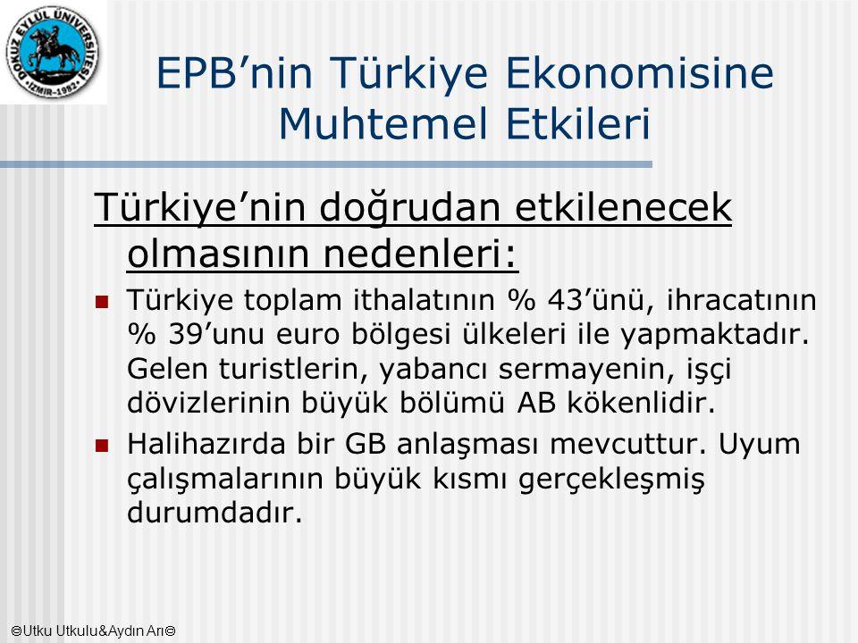 EPB'nin Türkiye Ekonomisine Muhtemel Etkileri Türkiye'nin doğrudan etkilenecek olmasının nedenleri: Türkiye toplam ithalatının % 43'ünü, ihracatının %