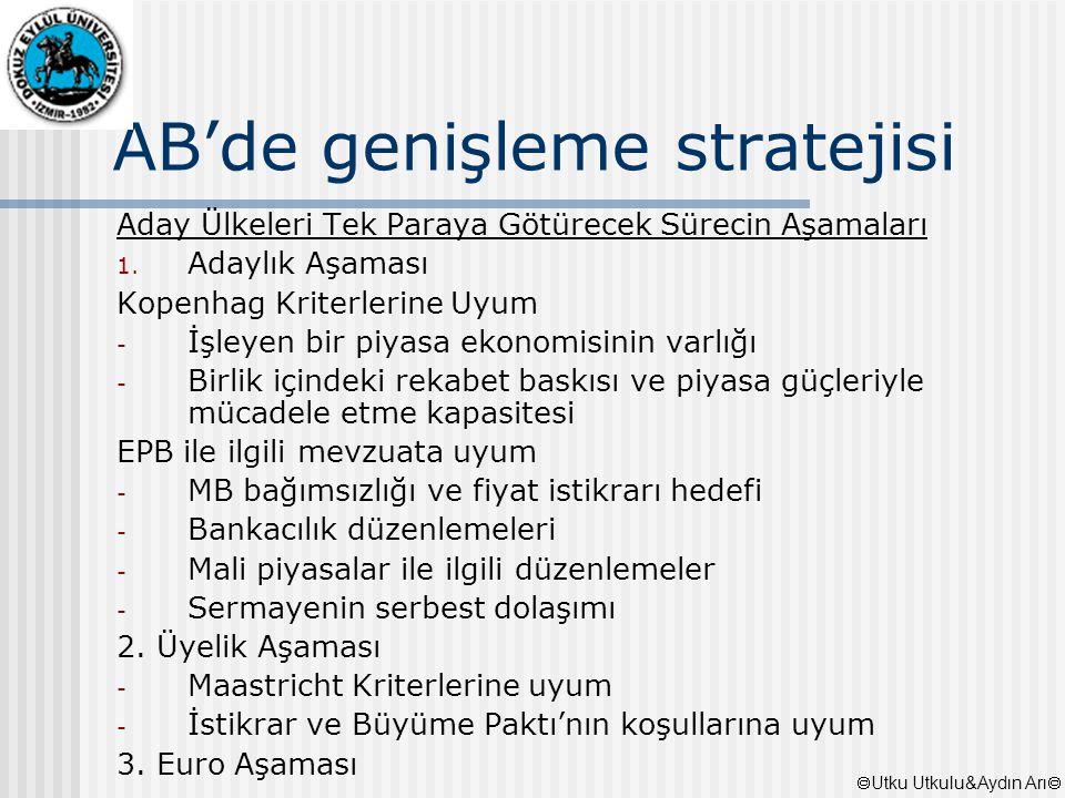 AB'de genişleme stratejisi Aday Ülkeleri Tek Paraya Götürecek Sürecin Aşamaları 1. Adaylık Aşaması Kopenhag Kriterlerine Uyum - İşleyen bir piyasa eko