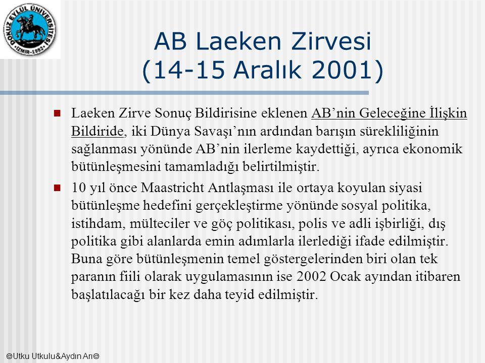 AB Laeken Zirvesi (14-15 Aralık 2001) Laeken Zirve Sonuç Bildirisine eklenen AB'nin Geleceğine İlişkin Bildiride, iki Dünya Savaşı'nın ardından barışı
