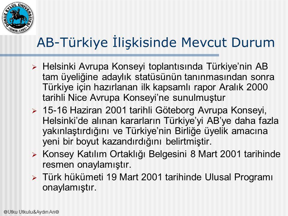 AB-Türkiye İlişkisinde Mevcut Durum  Helsinki Avrupa Konseyi toplantısında Türkiye'nin AB tam üyeliğine adaylık statüsünün tanınmasından sonra Türkiy