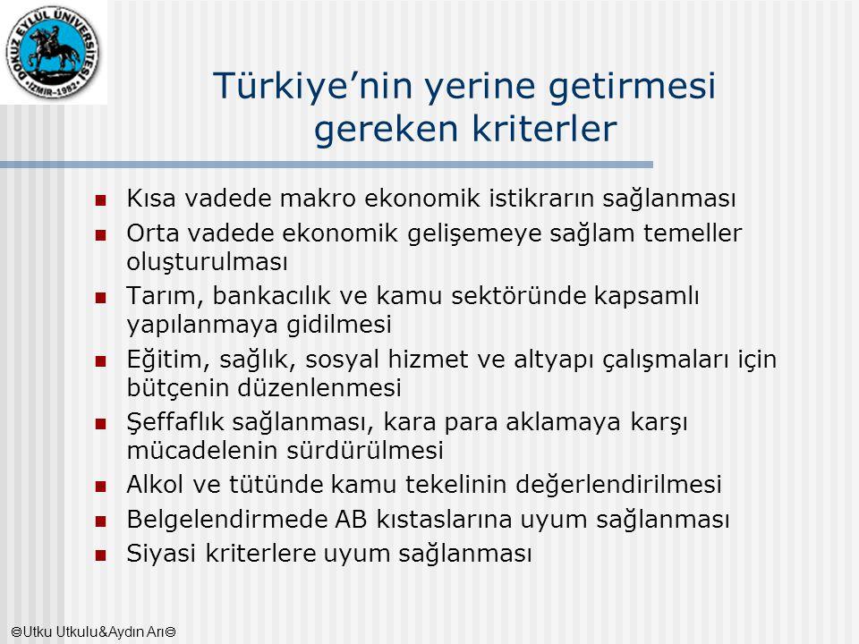 Türkiye'nin yerine getirmesi gereken kriterler Kısa vadede makro ekonomik istikrarın sağlanması Orta vadede ekonomik gelişemeye sağlam temeller oluştu
