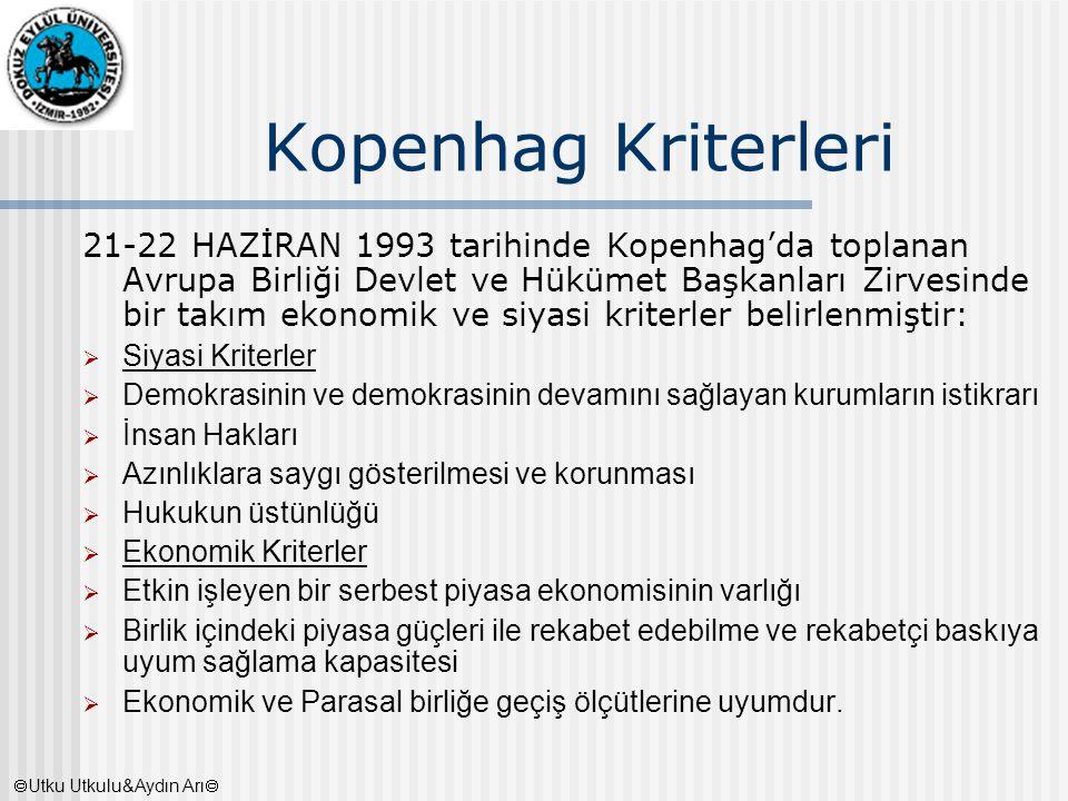 Kopenhag Kriterleri 21-22 HAZİRAN 1993 tarihinde Kopenhag'da toplanan Avrupa Birliği Devlet ve Hükümet Başkanları Zirvesinde bir takım ekonomik ve siy