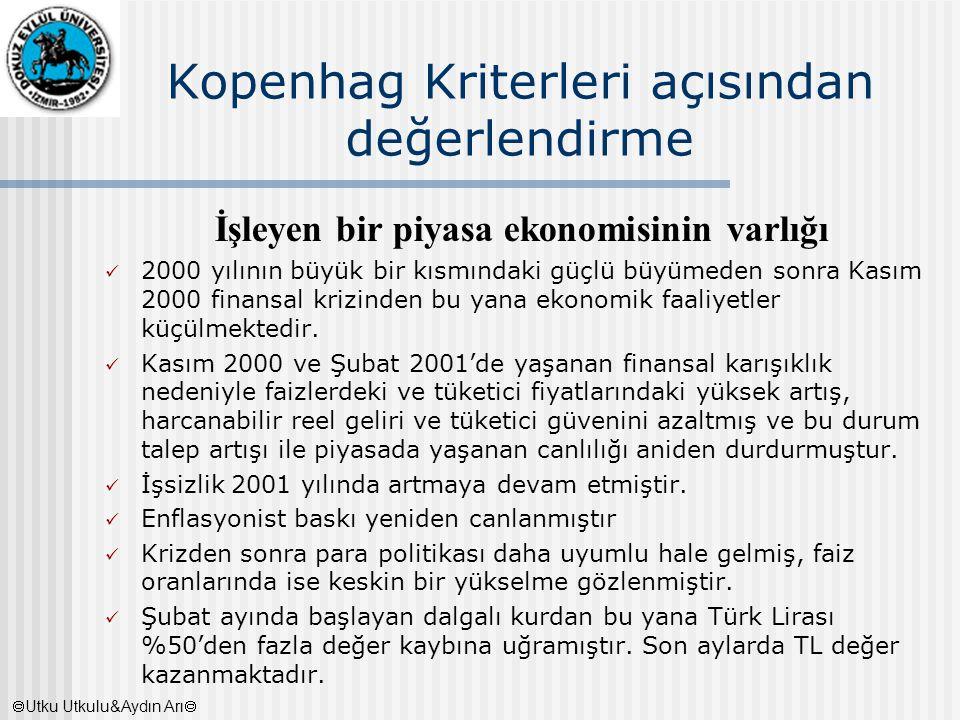 Kopenhag Kriterleri açısından değerlendirme İşleyen bir piyasa ekonomisinin varlığı 2000 yılının büyük bir kısmındaki güçlü büyümeden sonra Kasım 2000