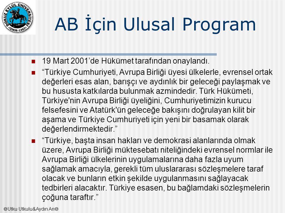 """AB İçin Ulusal Program 19 Mart 2001'de Hükümet tarafından onaylandı. """"Türkiye Cumhuriyeti, Avrupa Birliği üyesi ülkelerle, evrensel ortak değerleri es"""