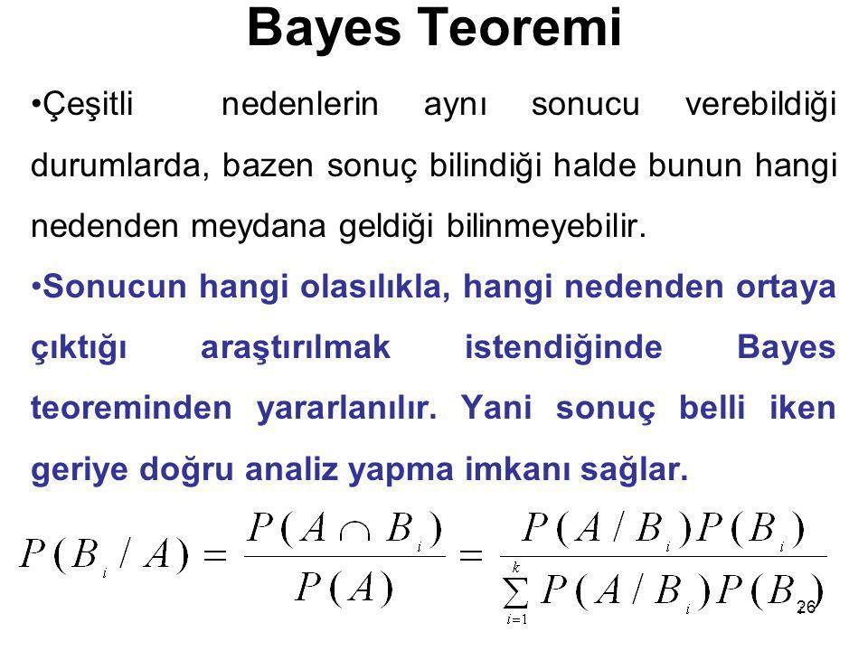 26 Bayes Teoremi Çeşitli nedenlerin aynı sonucu verebildiği durumlarda, bazen sonuç bilindiği halde bunun hangi nedenden meydana geldiği bilinmeyebili