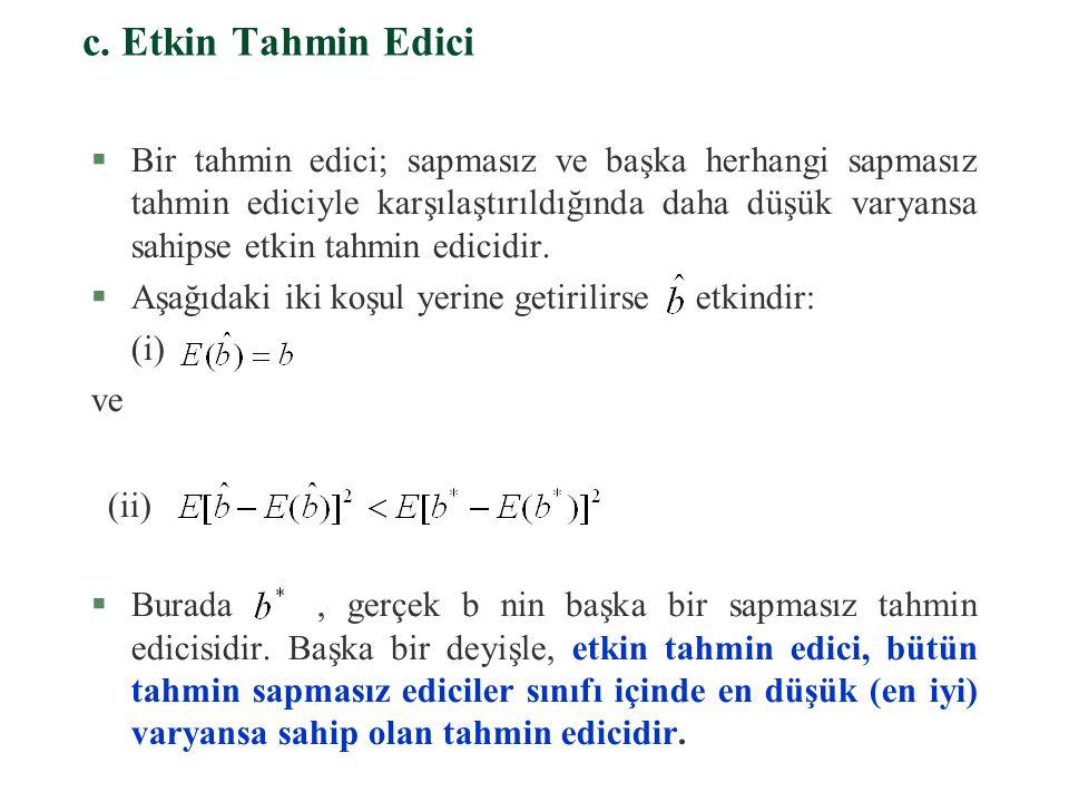 §Varyansı küçük olduğu halde sapması büyük olan bir tahmin edici, gerçek b parametresinden oldukça uzak bir değer etrafında toplanabilmektedir., b nin