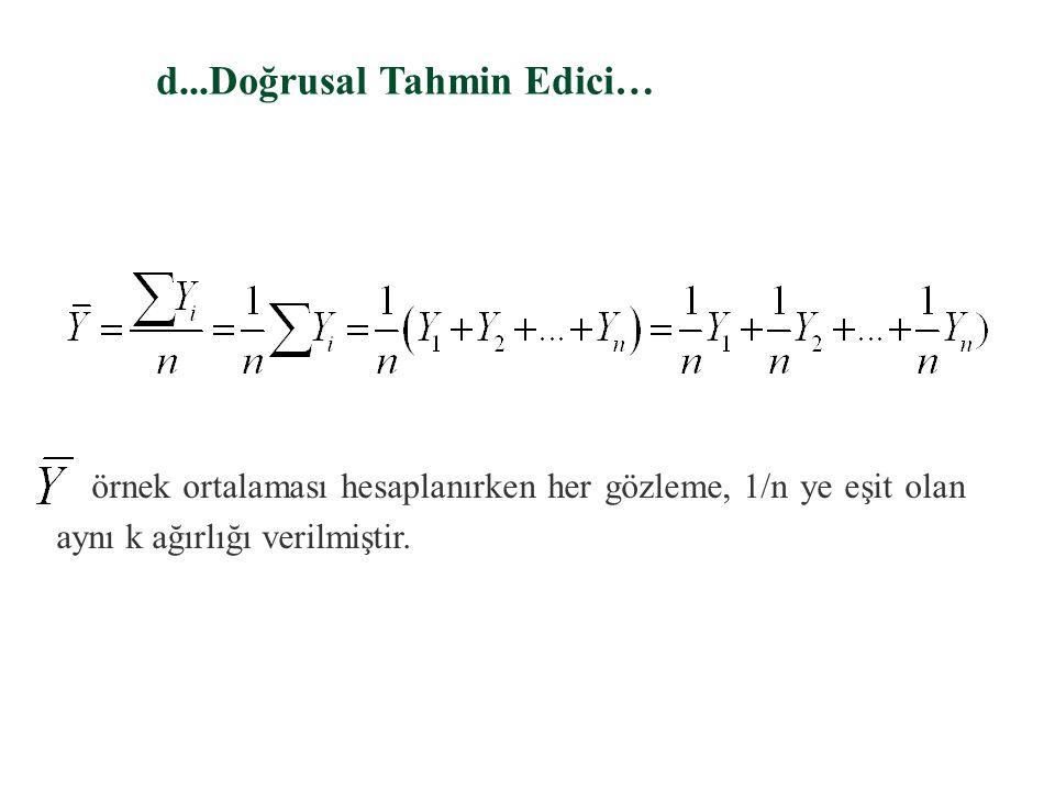 d. Doğrusal Tahmin Edici… §Bir tahmin edici, örnekteki gözlemlerin doğrusal bir fonksiyonuysa doğrusal sayılır. Örnek gözlemleri veriyken, doğrusal bi