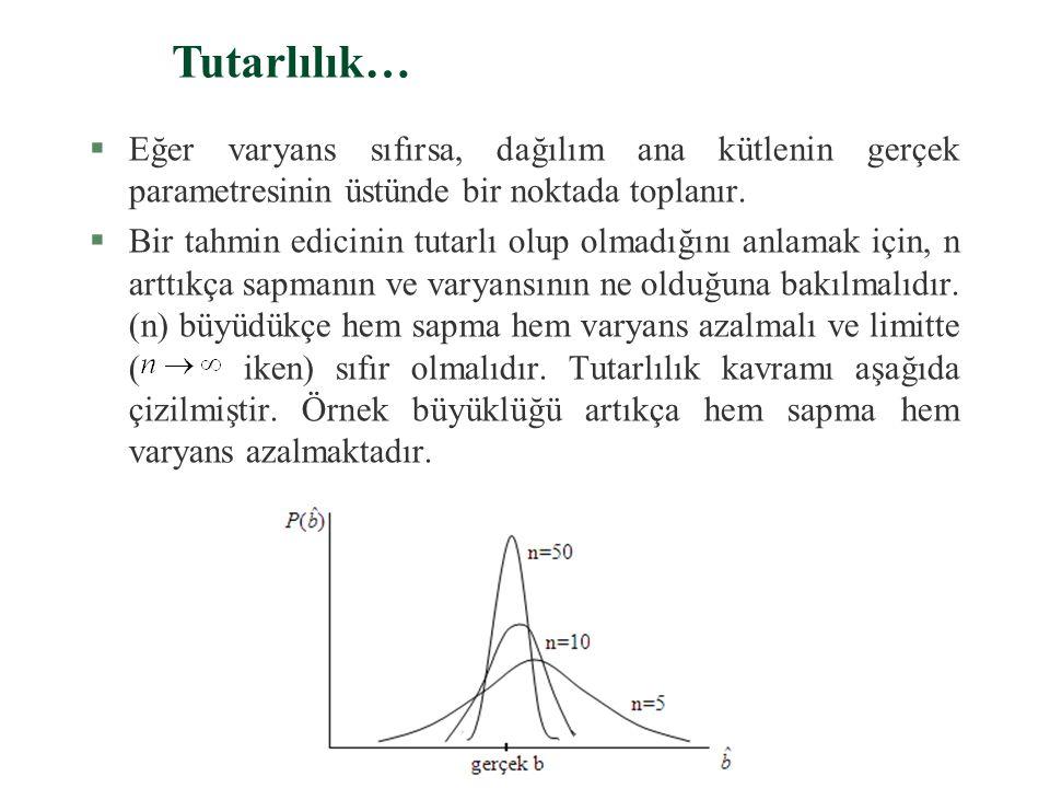 b. Tutarlılık… §Bir edicisi, aşağıdaki iki koşulla, ana kütlenin b gerçek parametresinin tutarlı bir tahmin edicisidir: 1. asimtotik sapmasız olmalıdı