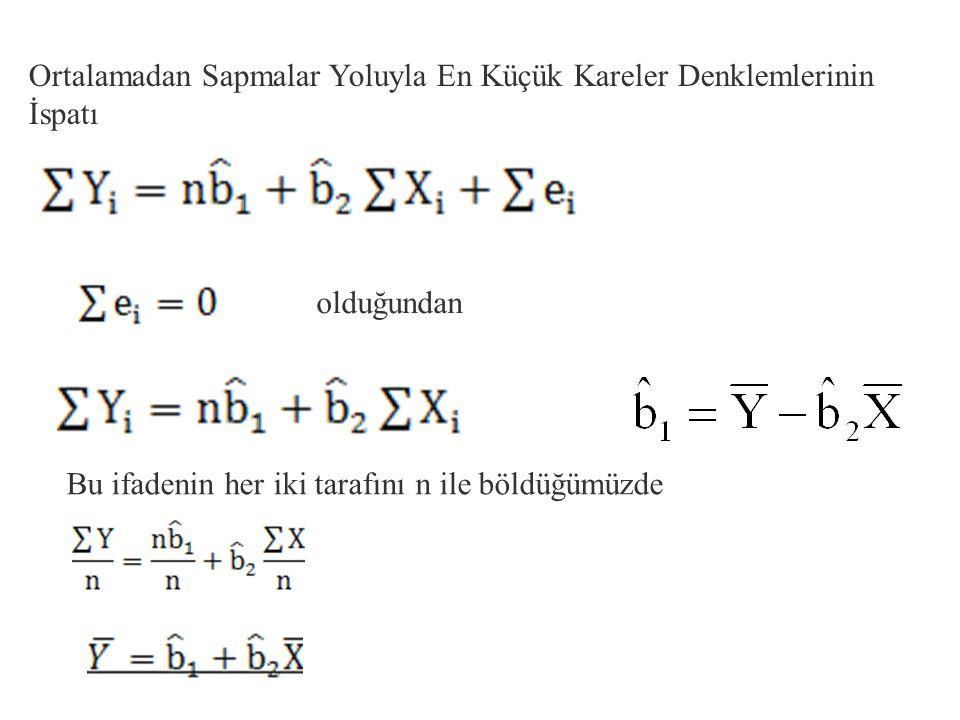 Parantezleri açarsak; Bu denklemlere doğrunun NORMAL DENKLEMLERİ denir. Normal denklemler alt alta yazılıp birlikte çözüldüklerinde b 0 ve b 1 tahminc