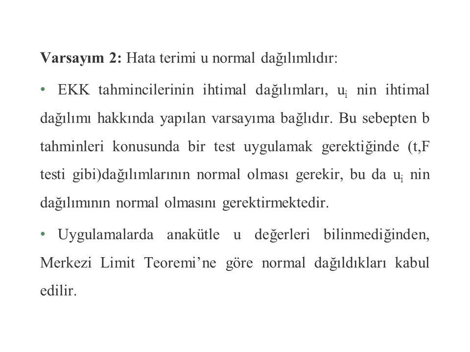 Sonuç olarak, yazılabilir. Yani u i ler, birbirinden bağımsız, sıfır ortalamalı, eş,t varyanslı normal dağılımlıdır.