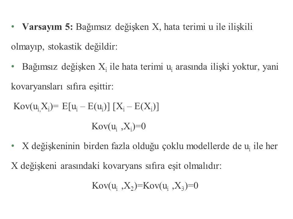 Bu varsayımın anlamı şudur: Her X i değeri için hata terimi u i 'nin varyansı belli bir sabit sayı olup σ 2 'ye eşittir. Buna homoskedastiklik varsayı