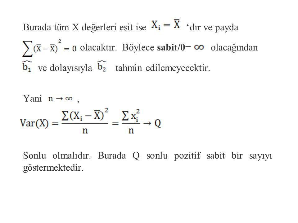 Varsayım 7: Bağımsız değişken X'in varyansı sonlu pozitif bir sayı olmalıdır. Anakütleden çekilebilecek örneklerin herbiri için X değişkeni değerlerin