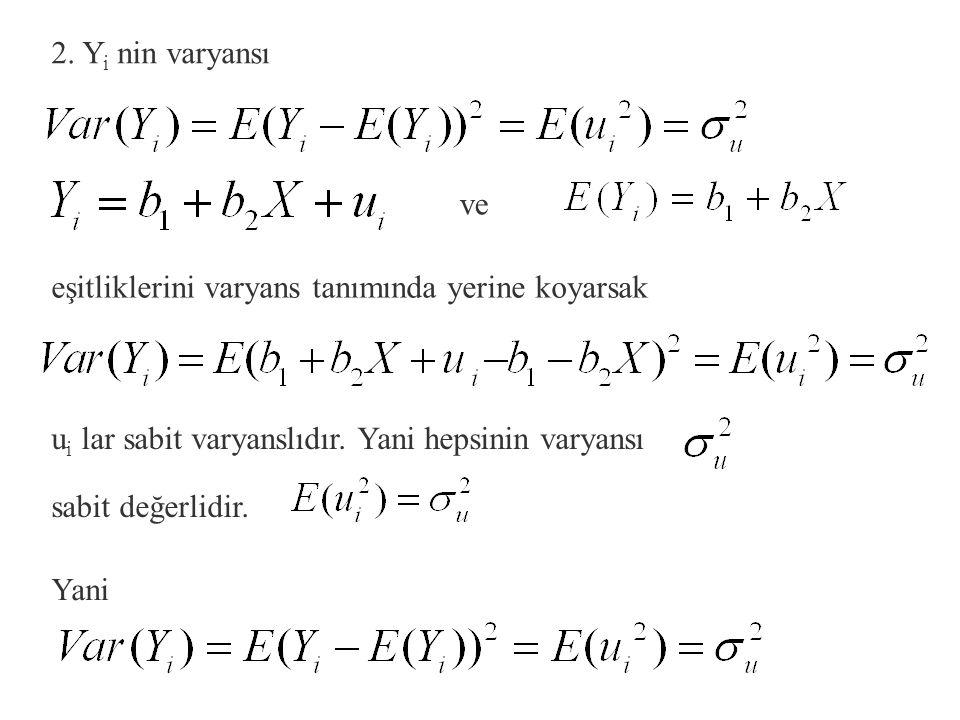 1. Y nin ortalaması kendisinin beklenen değerine eşittir. Beklenen değer alındığında b 1 ve b 2 parametreler iken X i değerleri değişmez değerler küme